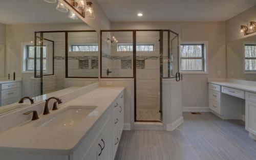 Modern Custom Farmhouse Master Bathroom (Gainesville Georgia New Home Builder) (3)
