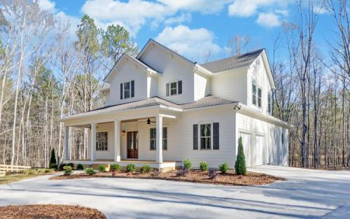 2-Story White Modern Farmhouse | All White Siding Exterior | Large From Porch with Lapboard Ceiling. | North Georgia New Home Construction