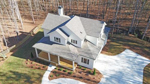 Two-Story White Modern Farmhouse | All White Siding Exterior | Large From Porch | North Georgia New Home Construction